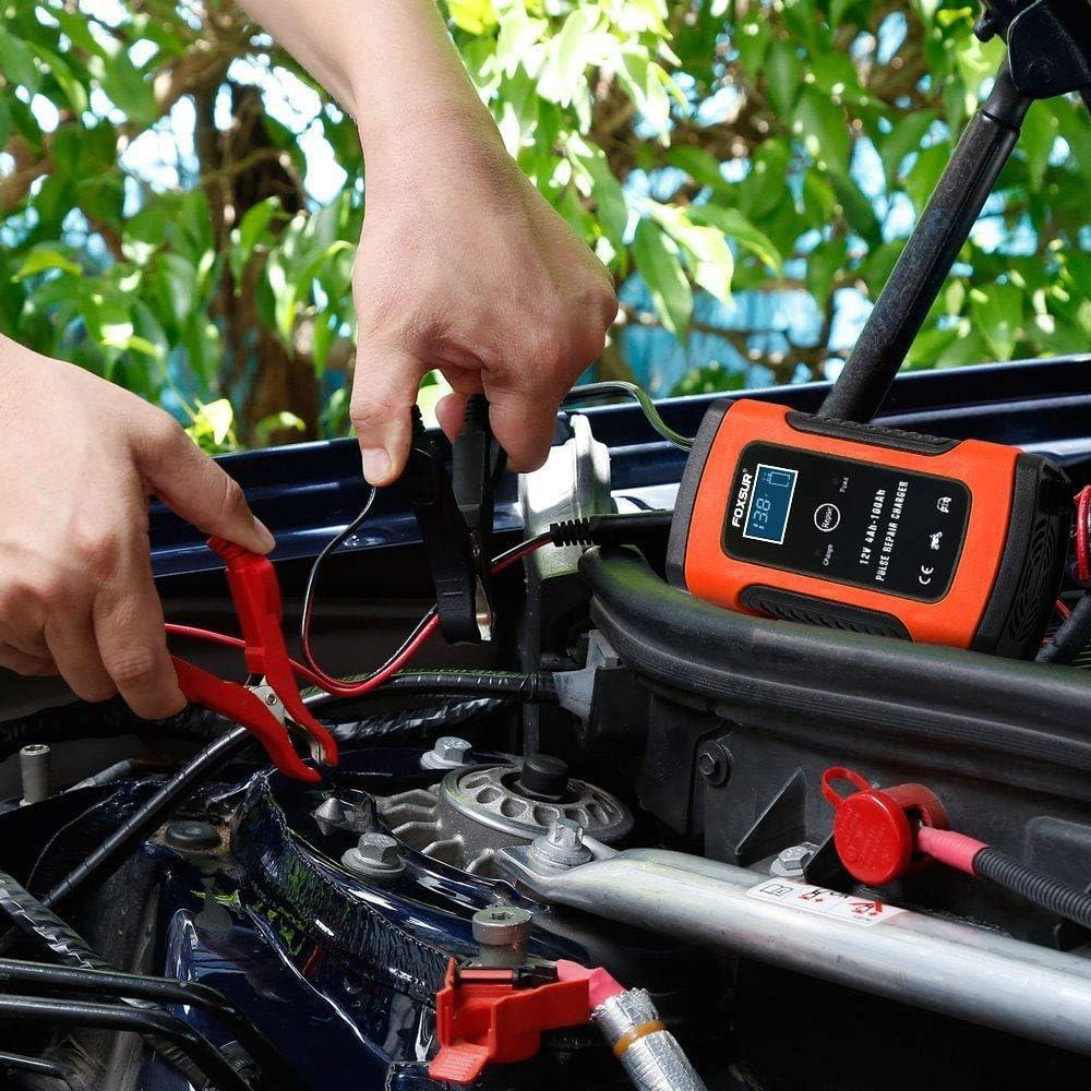 opamoo cargador baterias coche moto 5A 12V Full Autom/ático Inteligente Mantenimiento de bater/ía Cargador de Bater/ía con M/últiples Protecciones para Autom/óviles Motocicletas ATVs RVs Barco