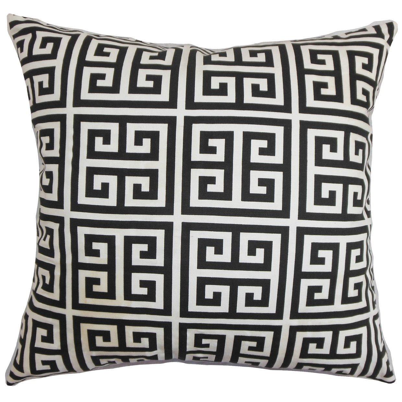 Queen//20 x 30, The Pillow Collection Paros Greek Key Bedding Sham Black White