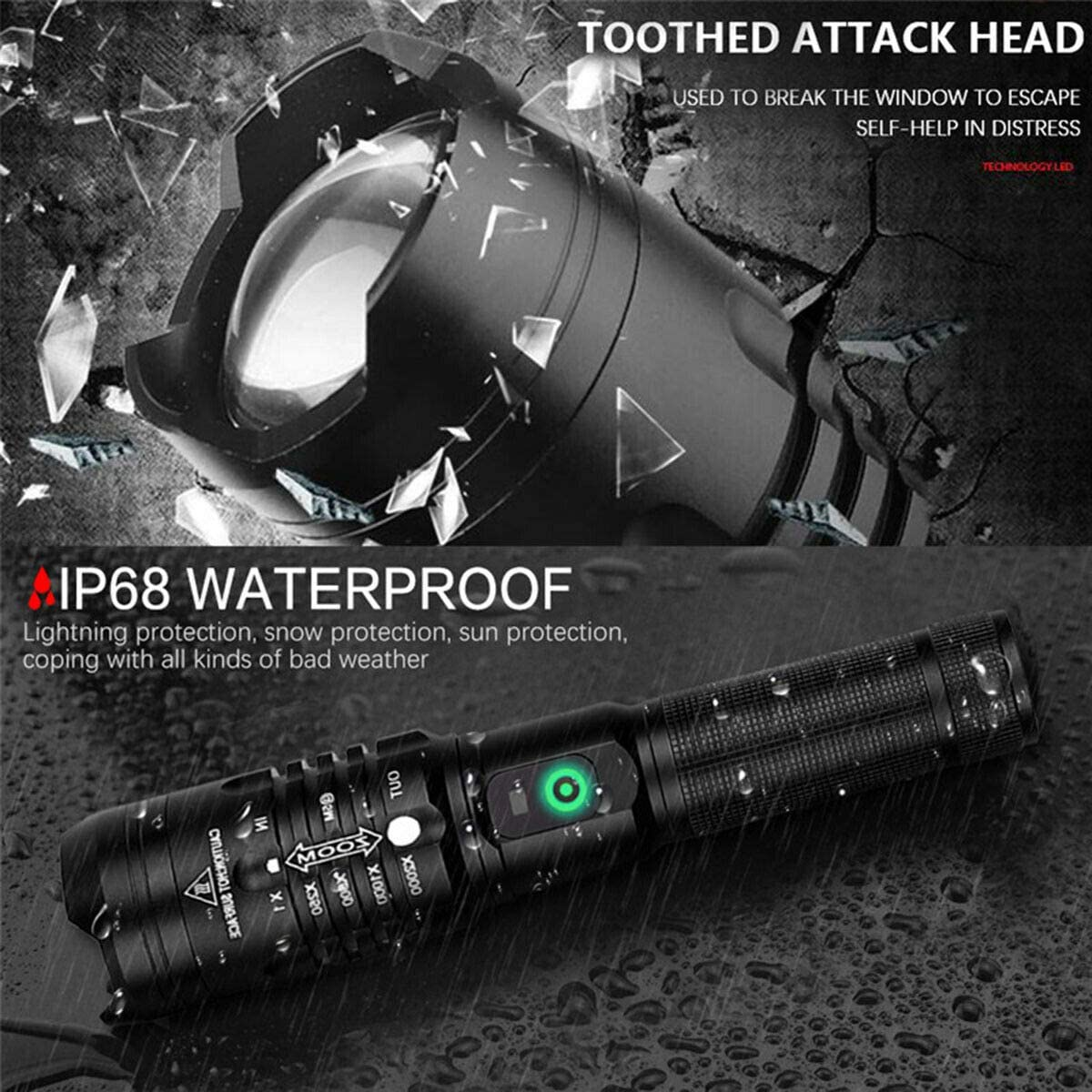 2 Pack LED XHP50 Flashlight 4000 Lumens Rechargeable Waterproof Tactical Torch Zoomable Handheld Flashlight with 3 Modes for Camping Hiking Fishing Outdoor Adventures