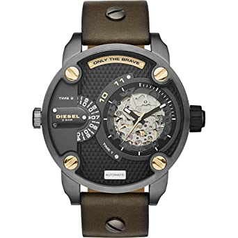 Diesel Mens Automatic Little Daddy Olive Leather Strap Watch 51x61mm DZ7364