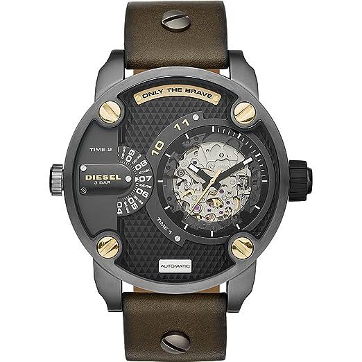 b74218117216 Diesel Little Daddy - Correa de piel color verde reloj automático hombre 51  x 61 mm dz7364  Amazon.es  Relojes