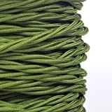 (MLCA022) 3 Core Sage Green - ANTIQUE BRAIDED TWISTED WOVEN SILK FABRIC LAMP FLEXIBLE CABLE WIRE CORD