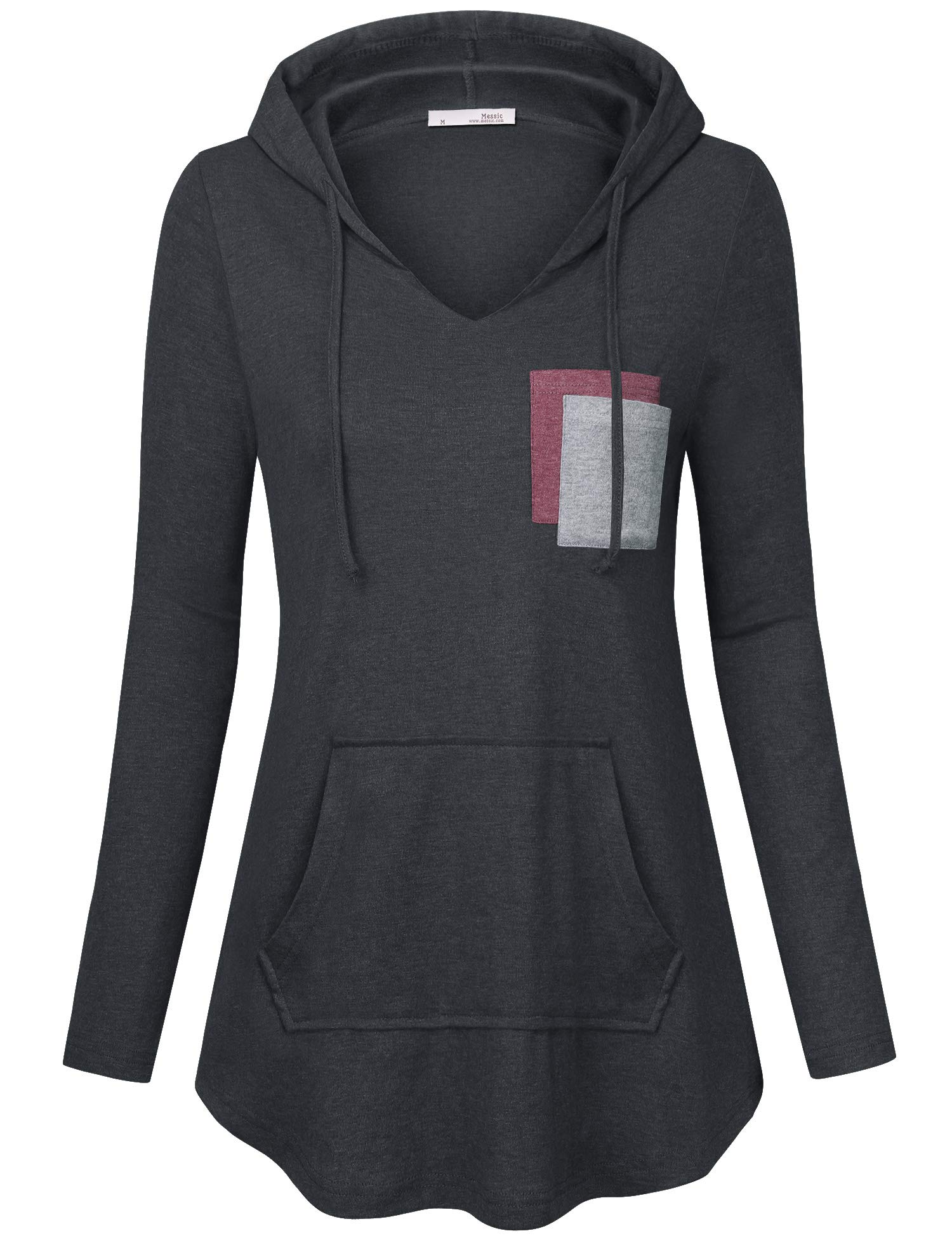 Messic Hoodies for Women Pullover, Casual A-Line Kangaroo Pockets Tunic Sweaters V Neck Long Sleeve Leisure Hooded Sweatshirt Carbon Black X-Large