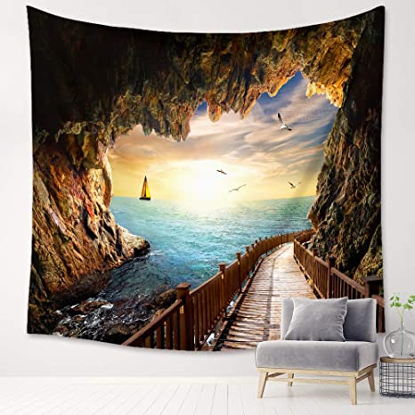 Blue Sea Scenic Tapstries Wall Decor Blue Waves Ocean Sea Tapestry Wall Hanging Summer Beach Landscape For Dorm Living Room Bedroom