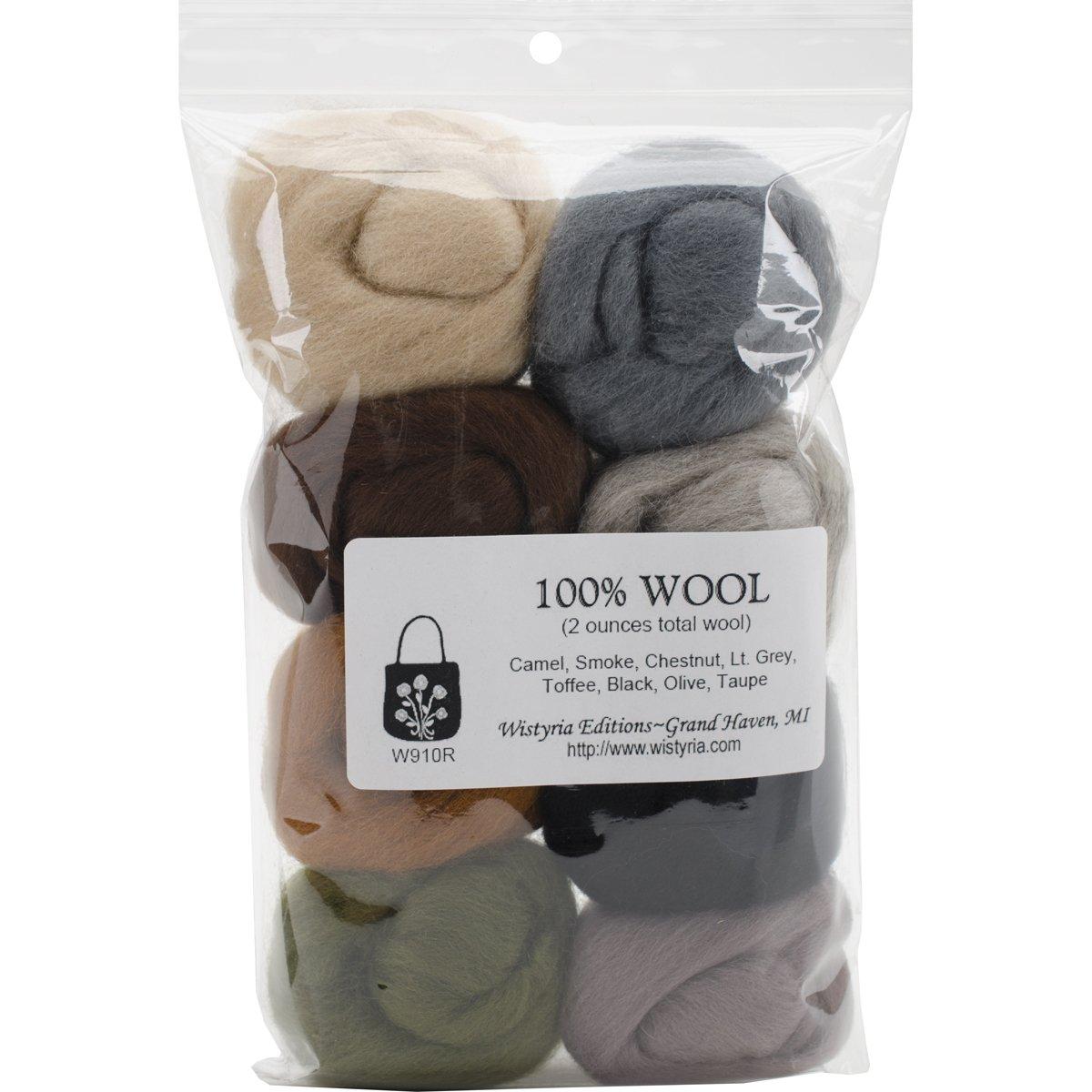 Rustic .22oz 8 Pack Wistyria Editions Wool Roving