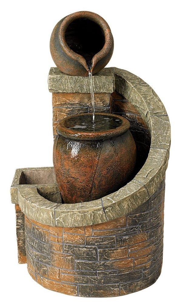 Verona Faux Brick Indoor/Outdoor 35'' High Garden Fountain by John Timberland