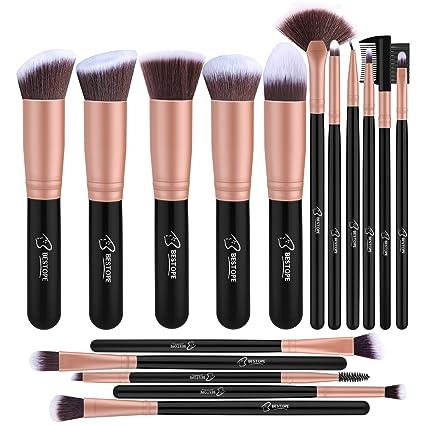 6afc5cd91efda Set de brochas de maquillaje profesional BESTOPE 16 piezas Pinceles de  maquillaje Set Premium Synthetic Foundation
