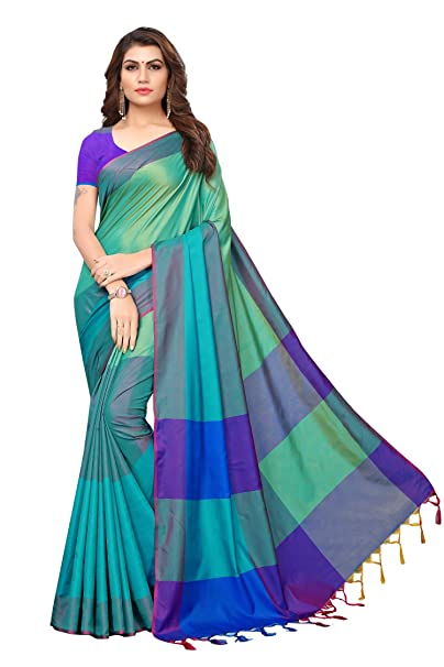 e4f1e1758b9e0d Indira Designer Art Silk Saree with Blouse Piece (IND058-RAMA Rama Free  Size)  Amazon.in  Clothing   Accessories