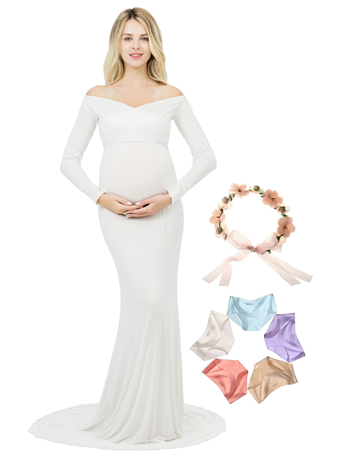 Sannyway Photoshoot Maternity Dress Long Sleeve Off Shoulder V-Neck Photography Gown