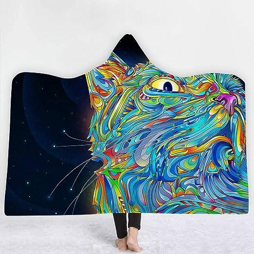 XmnaZr Cat Hooded Blanket Animals Print Throw Warm Warm 3D ...