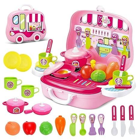 Toyshine DIY Luxury Kitchen Set with Briefcase, Accessories, Pink Kitchen Playsets at amazon