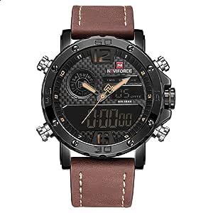 Naviforce 9134 B-Y-BN Leather Round Analog-Digital Watch for Men - Brown