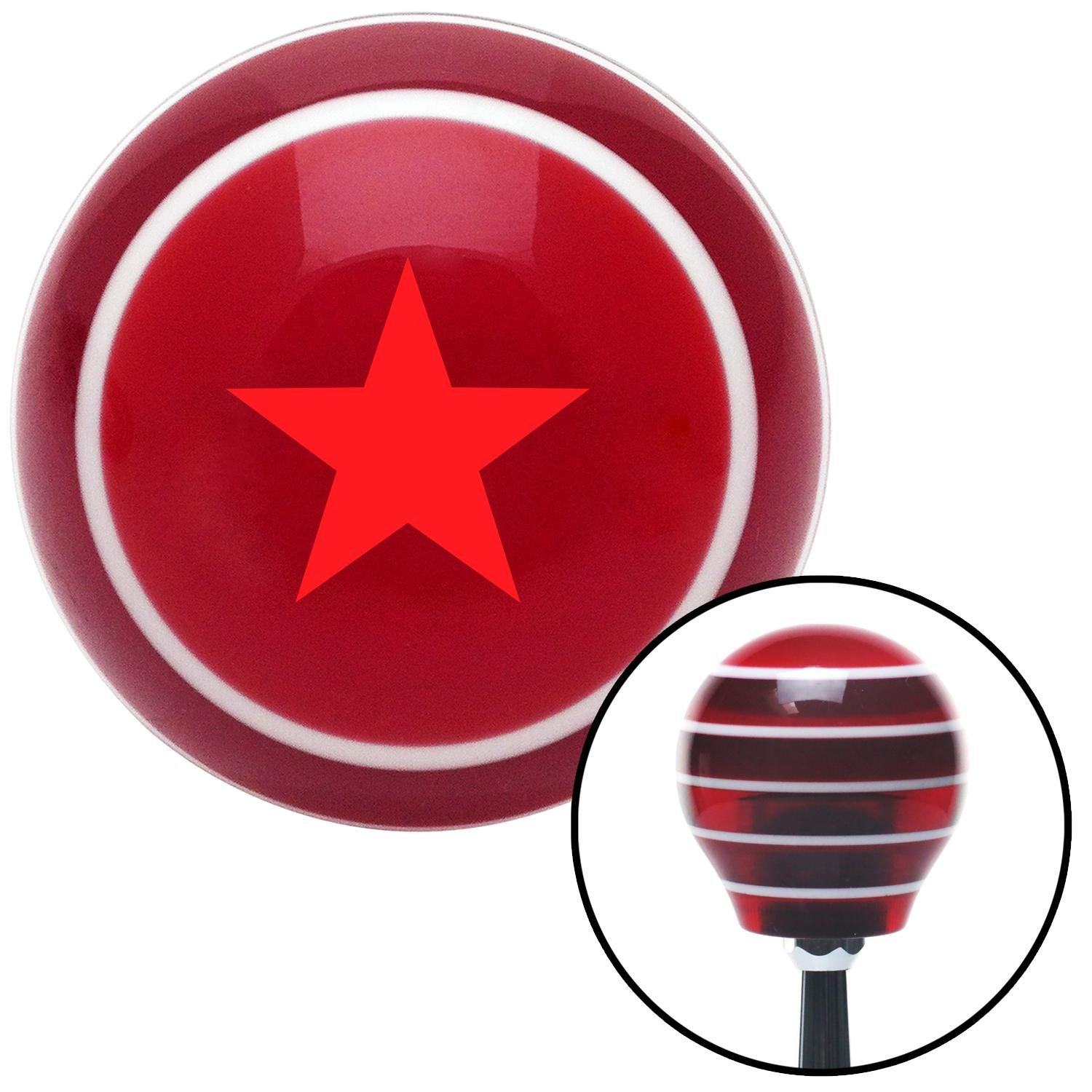 American Shifter 115538 Red Stripe Shift Knob with M16 x 1.5 Insert Red Officer 07 - Rear Admiral, Lower Half