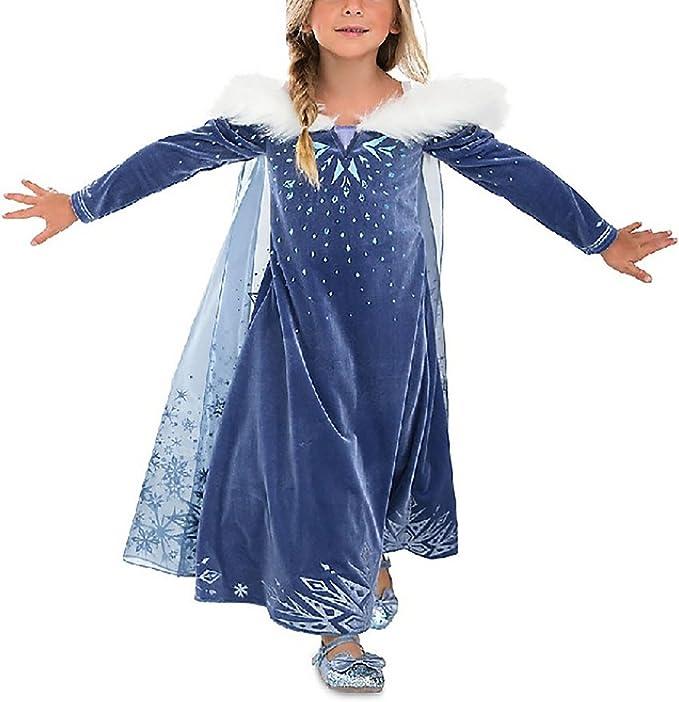 Eleasica Filles Manches Longues D/éguisements Robe Longue Cape Princesse Elsa Reine des Neiges Robe de Soir/ée Diad/ème Gants Baguette Magique Tresse Bleu Cadeau Costume d/'Halloween//No/ël