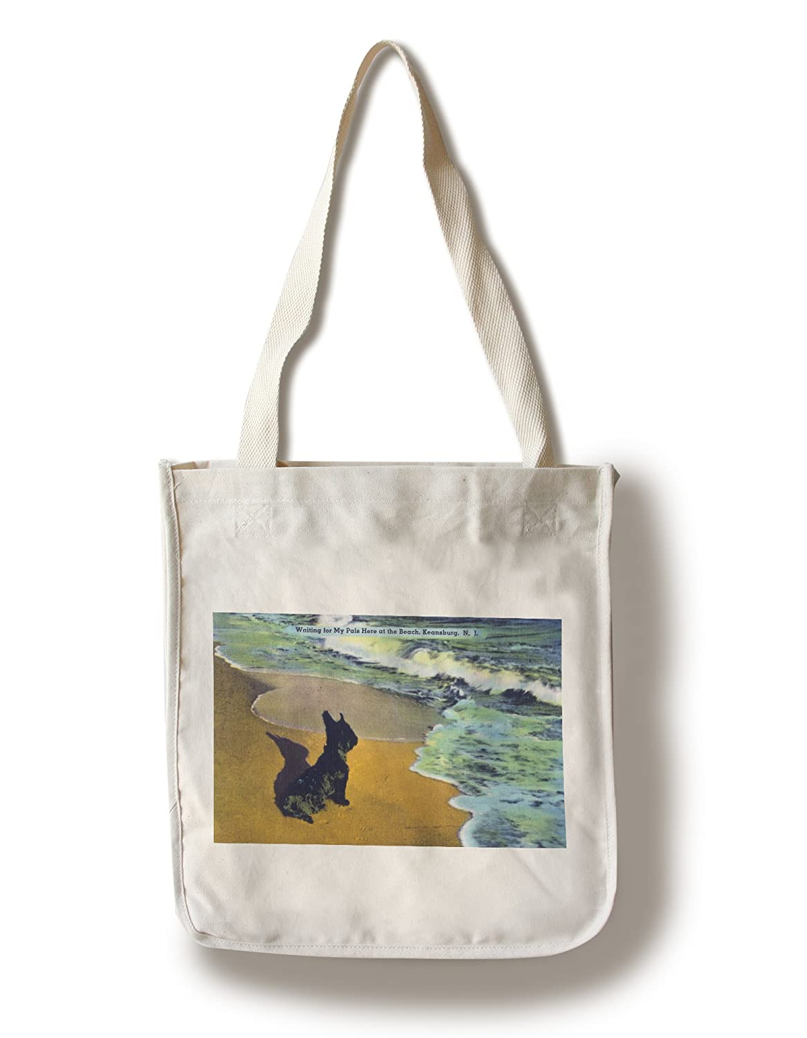 Keansburg、新しいジャージー – View of a Scottish Terrier on the beach Observingの水 Canvas Tote Bag LANT-29555-TT B01841N20Q  Canvas Tote Bag