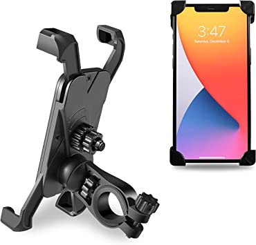 FRIFLY Bike Phone Mount Holder Anti Shake 360 Rotation Adjustable Cell Phone Stand for Bike Handlebars Compatible with iPhone and Android Smartphones 4 to 7 inch Fits Bike Motorbike Scooter Stroller