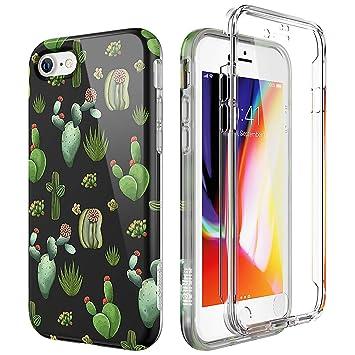 SURITCH Compatible con Funda iPhone 7/8 Silicona 360 Grados Cactus Kawaii Ultra Fina Bumper Flexible TPU Delantera y Trasera Irrompible Anti Choque ...