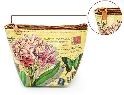 Retro Monedero de Cuero Pequeña Estilo Floral (Color 13 ...
