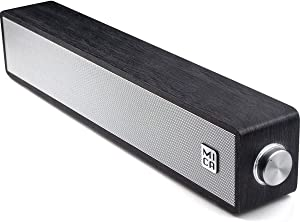 Wired Computer Sound Bar, USB-Powered PC Speakers; MICA M30 Wooden Wired LED Volume Control Mini Speakers for Multiple Devices (3.5mm AUX & PC Input) (Black)