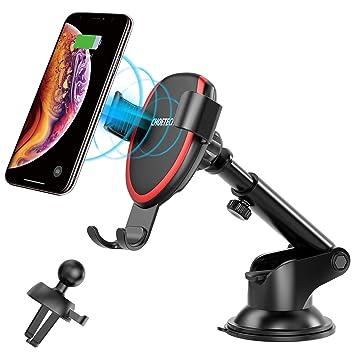 Cargador Inalámbrico Coche Carga Rápida, Qi Cargador Rápido Wireless Car Charger Soporte Móvil,10W para Samsung S9/S9+/S8/S8+,7.5W para iPhone XS/XS ...