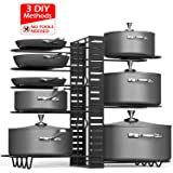 Pot Rack Organizers, Duerer 8 Tiers Adjustable Height and Position Pots & Pans Organizer with 3 DIY Methods, Pot Holder Rack Fit for Kitchen Counter and Cabinet, Lid Organizer (Black, 2019 Upgraded)