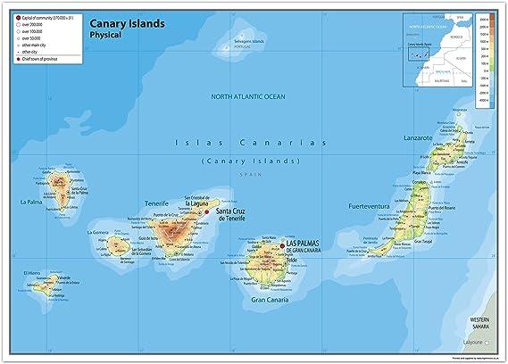 Tenerife Cartina Stradale.Isole Canarie Mappa Fisica Carta Plastificata Ga A2 Size 42 X 59 4 Cm Yellow Amazon It Cancelleria E Prodotti Per Ufficio