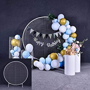 Go2party Round Wrought Iron Arch - White Grid Screen Decoration, Wedding/Celebration/Party Props, Size Optional