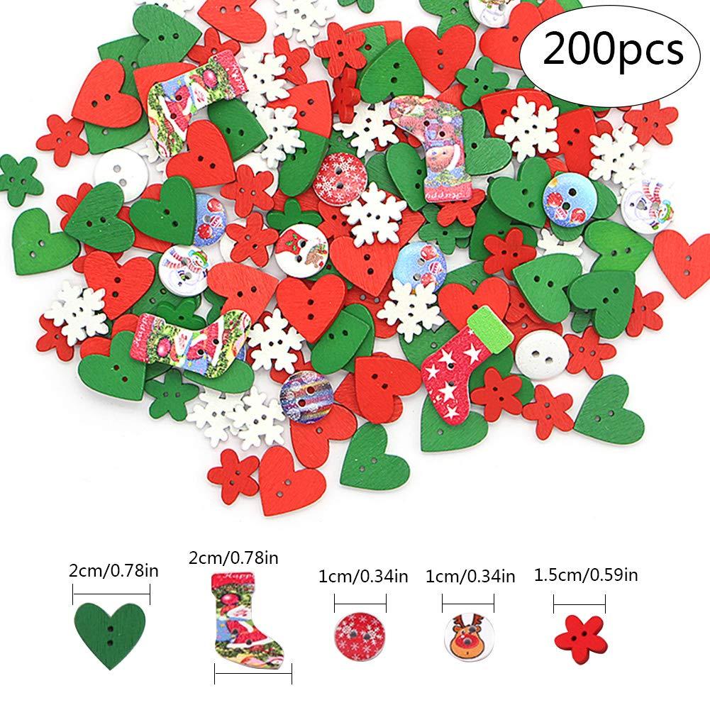 Colori Misti in Resina Bottoni in Legno Natalizi per Fai da Te con 2 Fori Scrapbooking Decorazioni Artigianali Pveath