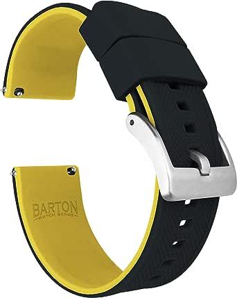 Barton Elite silikon klockarmband - snabbfrigöring - välj färg - 18mm, 19mm, 20mm, 21mm, 22mm, 23mm och 24mm klockarmband - svart spänne