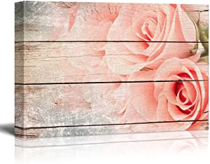 wall26 Pink Roses in a Bouquet - Rustic Floral Arrangements - Pastels Colorful Beautiful - Wood Grain Antique - Canvas Art Home Art - 24x36 inches