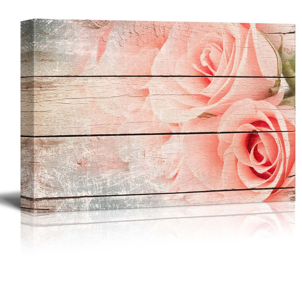 Pink Roses in a Bouquet - Rustic Floral Arrangements - Pastels Colorful Beautiful - Wood Grain Antique - Canvas Art Home Art - 12x18 inches