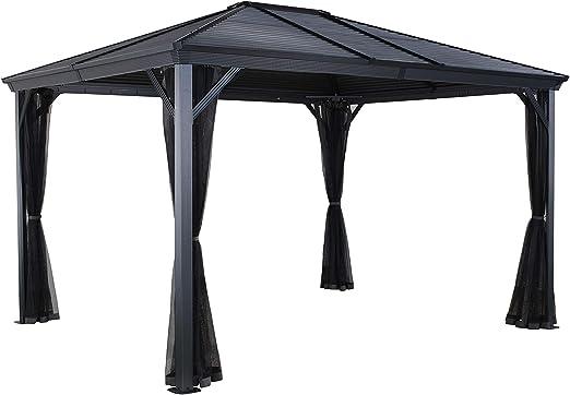 Sojag Ventura Pabellón de acero y aluminio (3 x 3 m) con cubierta dura, impermeable, robusto, resistente a la intemperie, duradero, protección solar, resistente al invierno, color gris: Amazon.es: Jardín