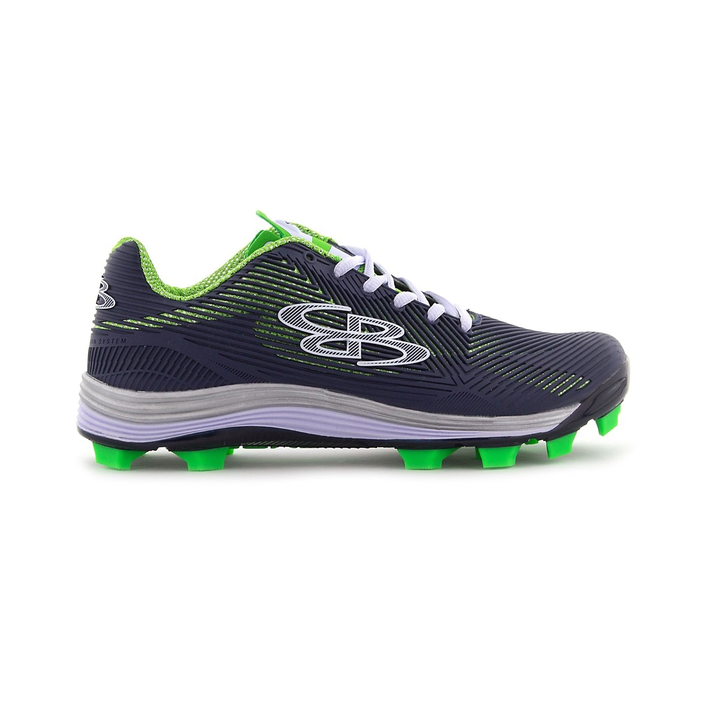 Boombah Women's Spotlight Molded Cleat Navy/Lime Green - Size 7.5 by Boombah