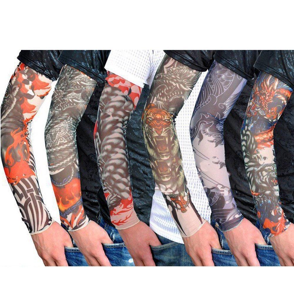 Fletion Set di 6 PCS Unisex Super Cool Braccio temporaneo Falso Manicotti del tatuaggio Tattoo Sleeves