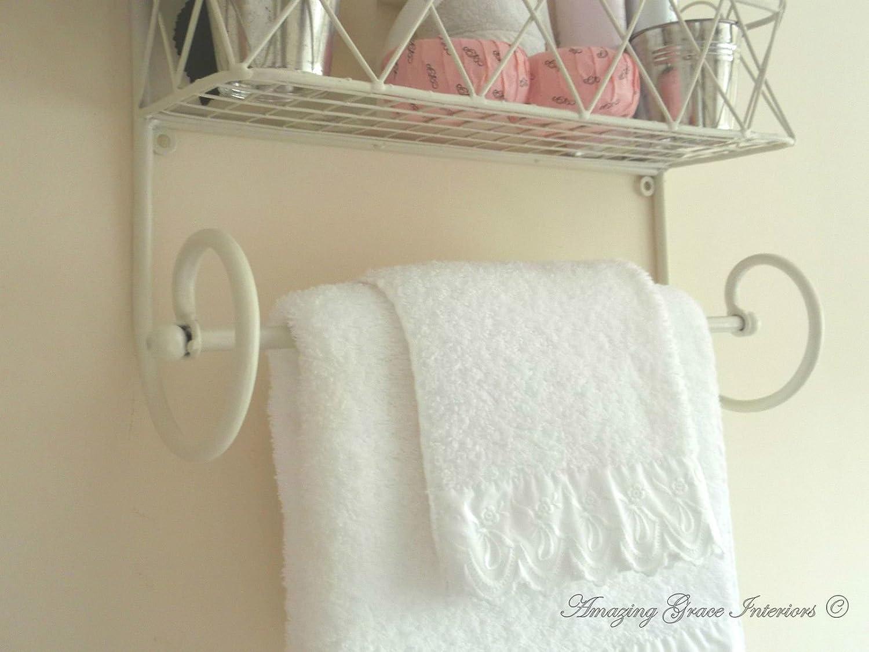 Porta Asciugamani Bagno Shabby : Shabby chic da parete in metallo scaffale porta asciugamani da bagno