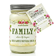 Scentiments FAMILY Gift Candle Cinnamon Fragrance 16oz