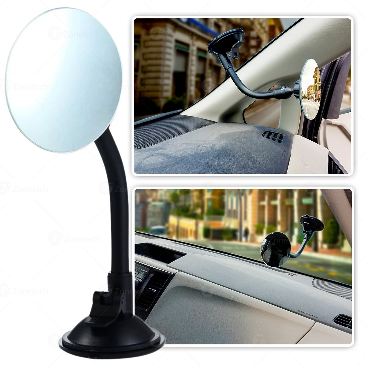 Zone Tech Adjustable Round Blind Spot Mirror Long Arm