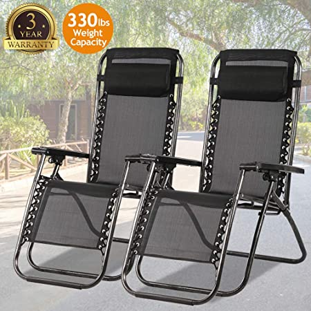 Zero Gravity Chair Patio Chair Lounge Chair Chaise Recliner 2 Pack Outdoor Folding Adjustable Heavy Duty Zero Gravity Chair with Pillows for Patio,