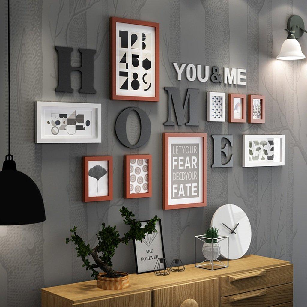 Everyday Home 9 Multi Bilderrahmen Set Schwarz Weiß RotbraunWooden DIY Foto Bilderrahmen Kombinations Treppen Malerei, 165 * 94 cm (Farbe : #A)