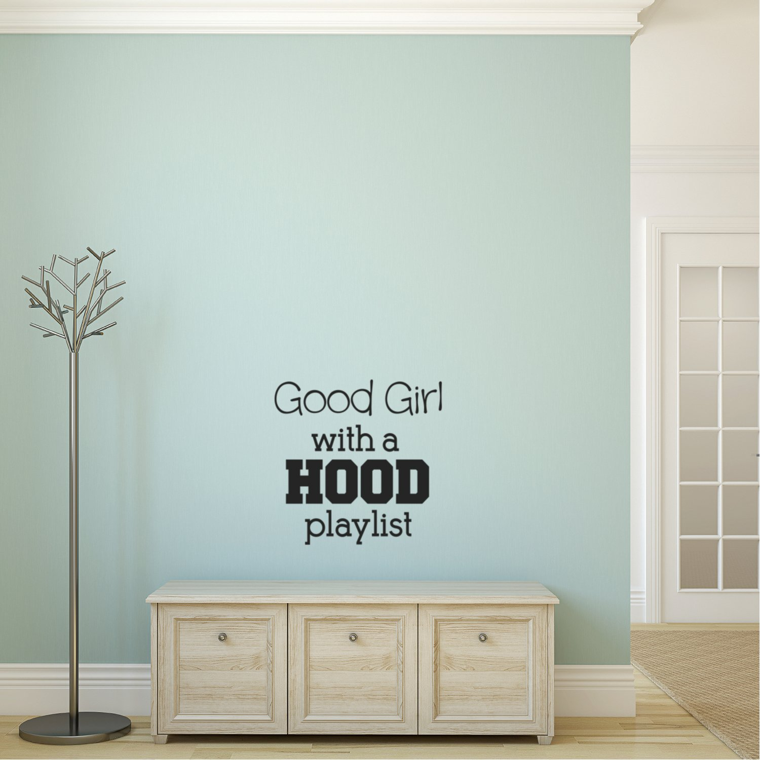 Vinyl Wall Art Decal - Good Girl with A Hood Playlist - 20'' X 20'' Music Decoration Vinyl Sticker - Trendy Wall Art Decal - Bedroom Living Room Decor - Fashion Wall Art - Women's Positive Quotes by Pulse Vinyl