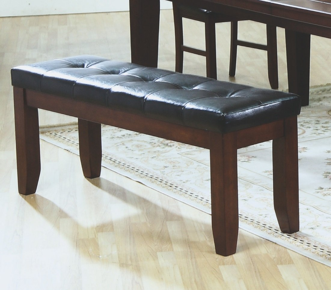 Amazon.com - Monarch Specialties Coaster Bench with a Leather-Look ...