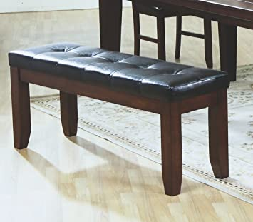 Amazon.com - Coaster Bench with a Leather-Look Seat, 48-Inch, Dark ...