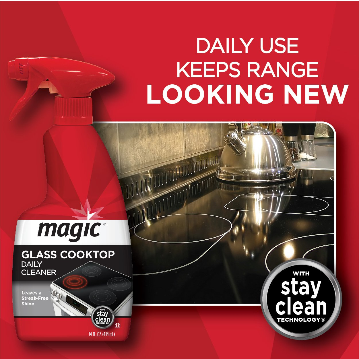 MAGIC Glass Cooktop Cream Cleaner & Polish - 16 oz. and Daily Cleaner - 14 Ounce - Cleans and Protects Glass and Ceramic Smooth Top Ranges with its Gentle Formula by MAGIC (Image #3)