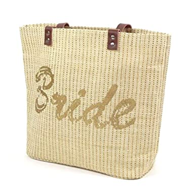 Bride Personalized Tote Bag Gold Glitter Wedding Bridal Shower Bachelorette 100% Jute Genuine Leather Handles Tote Bag