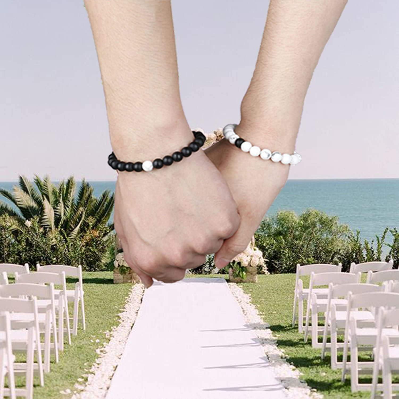 LOLIAS Couple Colliers et Bracelets Ensemble pour Femmes Hommes Coeur Collier Pendentif Puzzle Amour Couple Distance Bracelet Perles Cha/îne en Acier Inoxydable