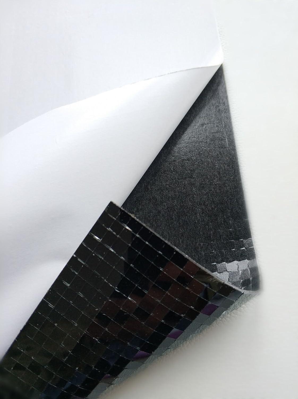 Mini carr/és et carreaux de mosa/ïque autocollants color/és en verre authentique Argent/é//effet miroir