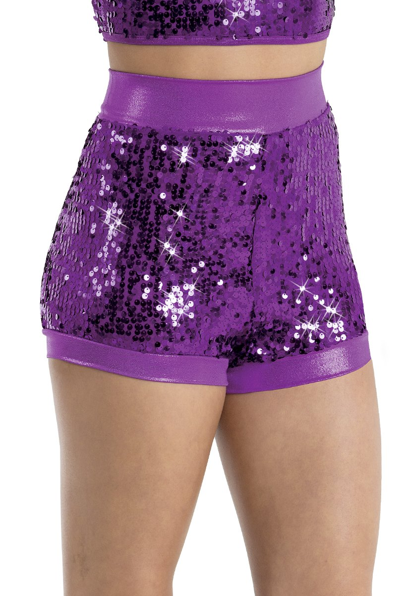 Balera Dance Shorts Ultra Sparkle with Metallic Trim Electric Purple Adult X-Large by Balera