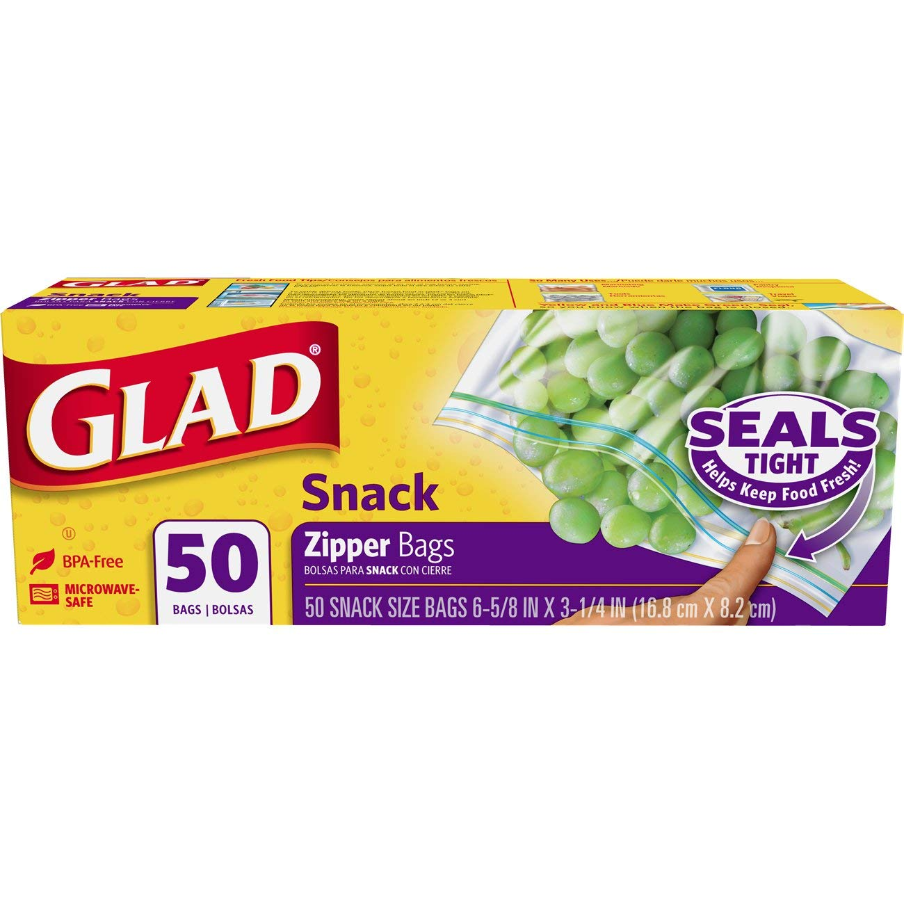 Glad Zipper Food Storage Snack Bags - 50 Count- Pack of 12