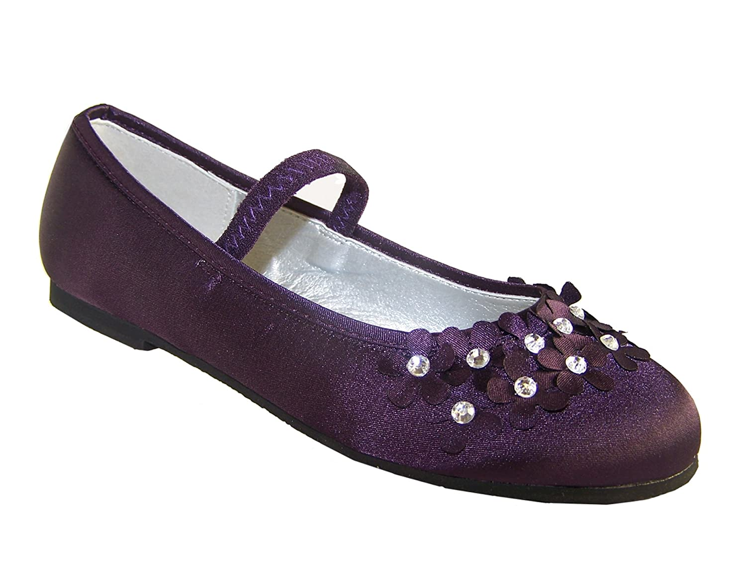 6ebdba3308c3 Girls purple satin flower girl ballerina shoes with flowers and gems size  8  Amazon.co.uk  Shoes   Bags