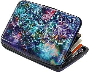 Elipark Mini Credit Card Holder RFID Blocking Aluminum Wallet Metal 7 Slots ID Case Hard Shell Business Card Case for Men Women (color1)